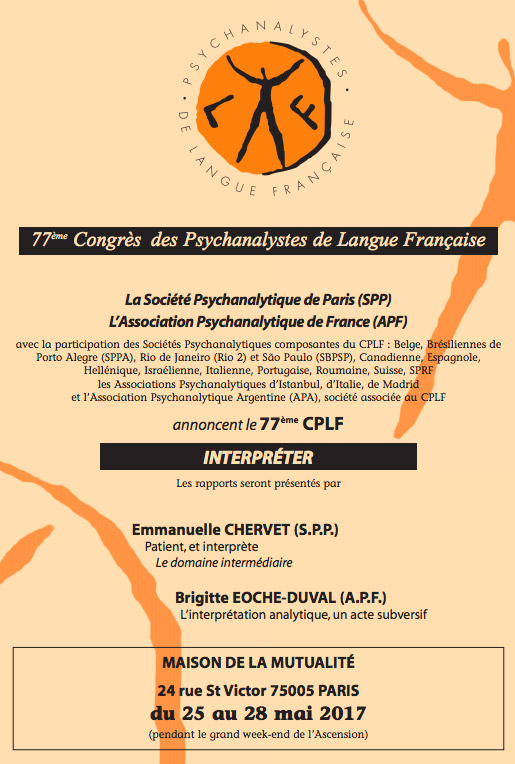 77ème Congrès des Psychanalystes de Langue Française